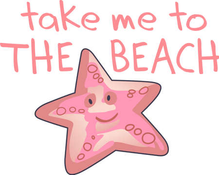 seastar: Happy starfish is here to brighten up your day with a big smile.  Share this cute starfish with someone special.  They will love it! Illustration