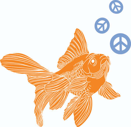 The goldfish is a popular fish in an outdoor pond.