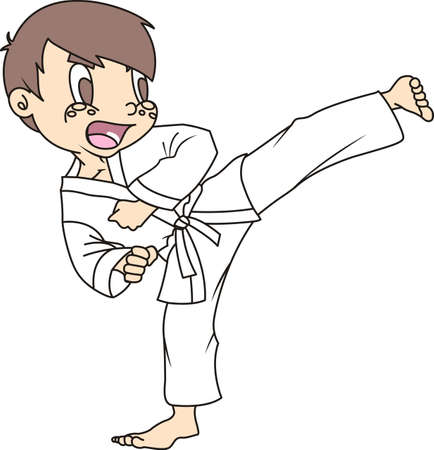 The black belt shows the level a student has made in karate. Your student loves to show honor for their achievement in the art of karate. They will love to show they live and love karate! Ilustracja