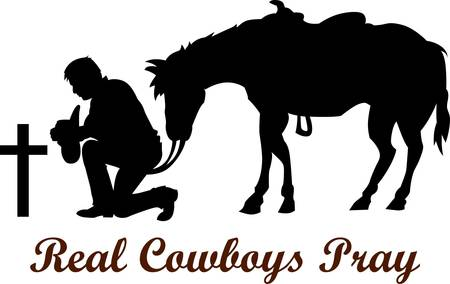 man kneeling: The cowboy who lost his friend is a respectful design   Illustration