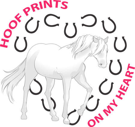 wind blowing: This graceful horse with the wind blowing its mane will be beautiful on a shirt, vest or jacket.   Illustration