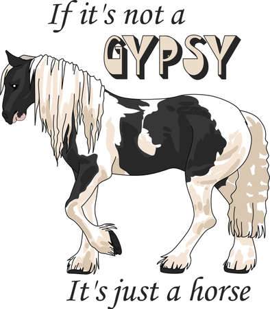 gypsy: This graceful horse with the wind blowing its mane will be beautiful on a shirt, vest or jacket.  Vectores