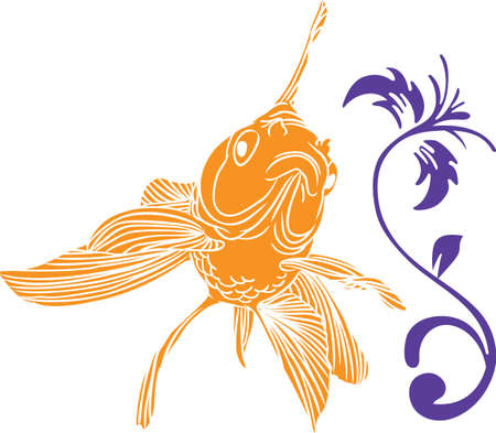 fantail: Happy Chinese New Year with this beautiful goldfish.  Illustration