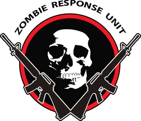 The zombie response unit is a perfect design for your next scary movie night. Иллюстрация