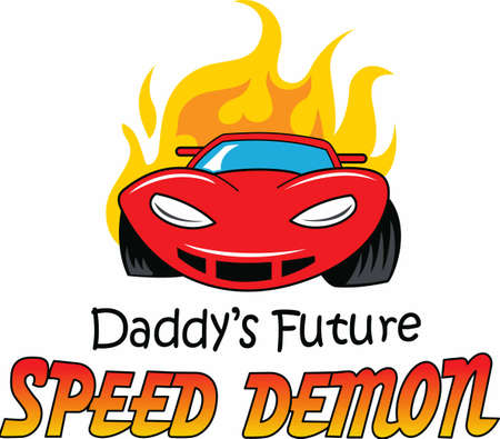 car engine: Dads future speed demon. Get dad prepared for the teenager. Illustration
