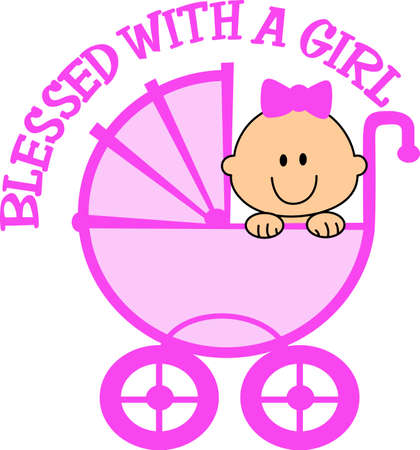 This cute design of a baby in a carriage makes the perfect gift to babys nursery.  Mom and dad will love it!