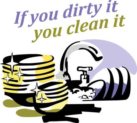 청결은이 부엌에서 가까운 불가능하다. 식기 세척기를 돕기 위해 자신의 접시를 씻어 다른 사람을 상기시킨다. 일러스트