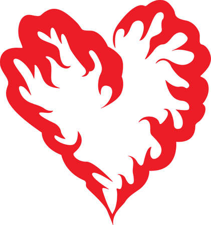 red love heart with flames: This a beautiful design of a heart that will be beautiful to add to a shirt or vest.