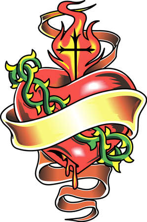 flaming heart: This a beautiful design of a heart that will be beautiful to add to a shirt or vest.