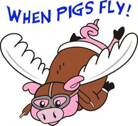 flying pig: Sure you can do that... when pigs fly.  Get your cartoon designs from Great Notions. Illustration