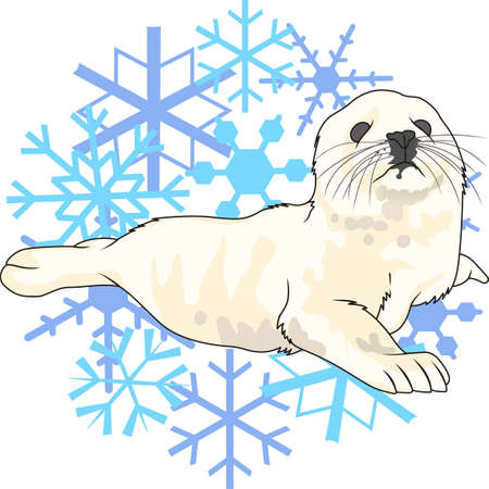 baby seal: This beautiful snowflake design and a baby seal is a perfect decoration for your holidays.  Get those designs from Great Notions. Illustration