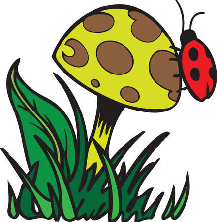 magic mushroom: This adorable design of a ladybug and a mushroom is a perfect springtime design.  Get these designs from Great Notions.