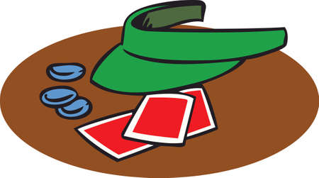 hat with visor: A football game and a poker game.  It doesnt get any better than this. Illustration