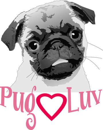 pure bred: I love my cute pug.  A perfect gift for the dog owner from Great Notions. Illustration