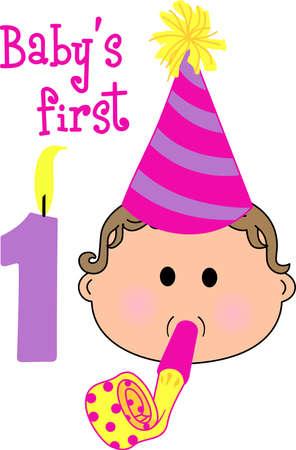 Gelukkige 1st verjaardag aan een kostbare baby. Vier deze speciale gebeurtenis! Baby blijkt 1 jaar oud met een confetti dot partij. Stockfoto - 45169428