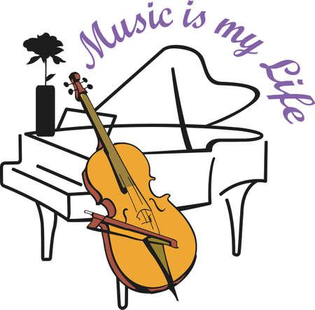 geigen: Dieses Klavier und Cello-Design ist perfekt f�r Ihre Band Student. Ein anderer Spa�entwurf vom gro�e Begriffe.