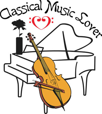This piano and cello design is perfect for your band student.  Another fun design from Great Notions. Illustration