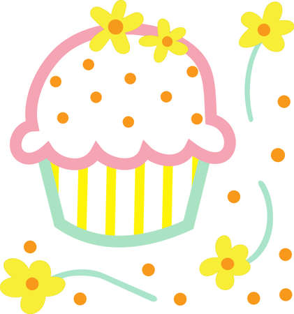 applique: This cute little cupcake applique is perfect for a birthday party.