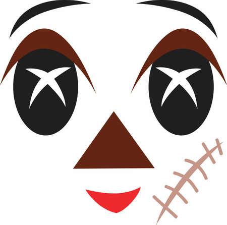 이 무서운 얼굴 디자인은 인형에 추가하고 Halloween를 위해 완벽하다. 위대한 개념의 귀여운 디자인. 일러스트