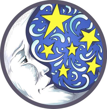 dulces sue�os: Dulces sue�os con esta imagen hermosa luna y las estrellas. Un dise�o perfecto para una habitaci�n del ni�o. Vectores