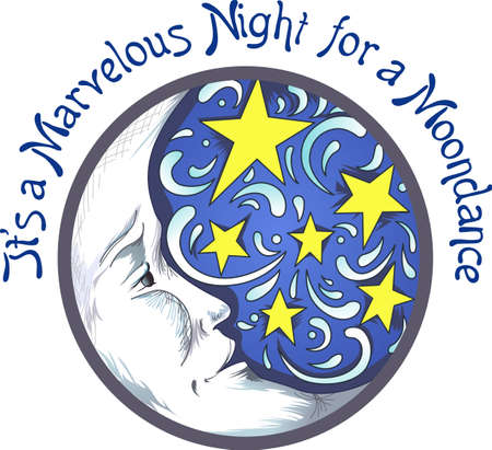 luna: Sweet dreams with this beautiful moon and stars image.  A perfect design for a childs room. Illustration
