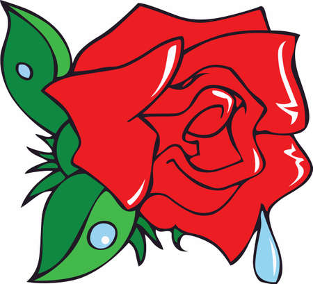 dewy: This beautiful image of a red rose for love and a tear is a perfect image to send to a loved one that is away from home. Illustration