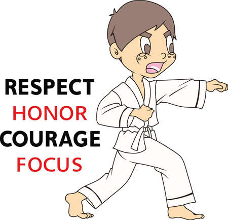 kwon: The black belt shows the level a student has made in karate. Your student loves to show honor for their achievement in the art of karate. They will love to show they live and love karate! Illustration