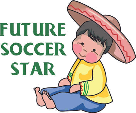 Use this Mexican boy design for a special fiesta design. Иллюстрация