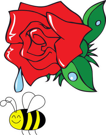 dewy: On a rainy day the beautiful rose will hold a drop for the sun to come out with a happy bee.  A beautiful design from Great Notions.