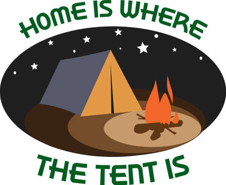 out of use: Get out there and enjoy family time in the great outdoors.  Use this design from Great Notions on your camping gear! Illustration