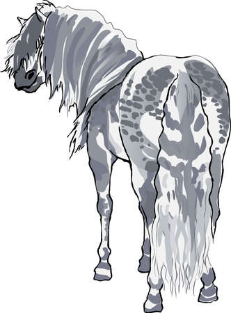 draft horse: This graceful horse with the wind blowing its mane will be beautiful on a shirt, vest or jacket.  This mustang design from Great Notions is a must have item for horse owners.