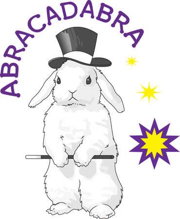 This cute rabbit is the perfect design to promote your magic show. Ilustração