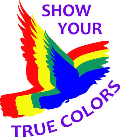 bisexual: A rainbow dove is a lovely symbol for diversity.