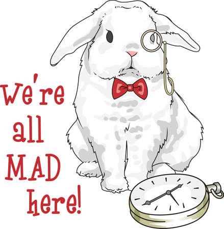 Ce lapin mignon est la conception parfaite pour Alice au pays des merveilles. Doit garder le temps. Banque d'images - 45194478