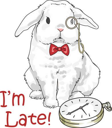 Ce lapin mignon est la conception parfaite pour Alice au pays des merveilles. Doit garder le temps. Banque d'images - 45194479