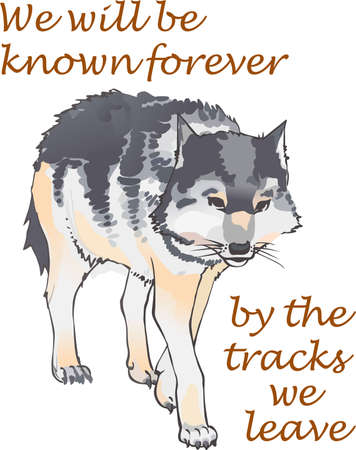 The majestic wolf is the king of the mountains.  This is a beautiful outline to add to your design. Illustration