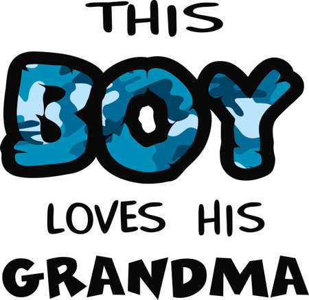notions: This boy loves his grandma with this blue camo print.  A fun design from Great Notions.