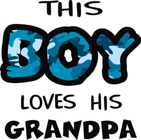 notions: This boy loves his grandpa with this blue camo print.  A fun design from Great Notions. Illustration