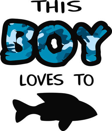 loves: Show this boy loves to fish with this blue camo print.  A fun design from Great Notions. Illustration