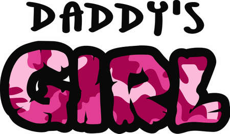 notions: Show this girl loves her dad with this pink camo print.  A fun design from Great Notions. Illustration