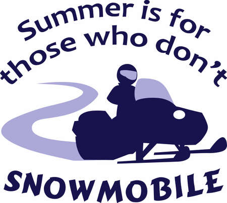 Have winter fun with a snowmobile. Illustration