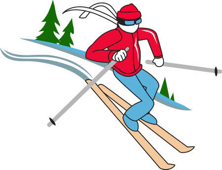 slalom: Snow skiing is a wonderful sport to enjoy in winter.  Enjoy this design from Great Notions. Illustration