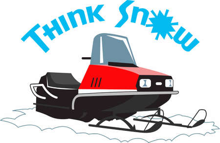 have fun: Have winter fun with a snowmobile. Illustration