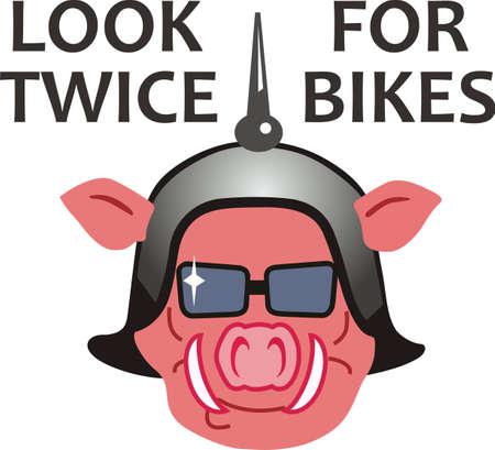 notions: Hawg wild swine biker.  A motorcycle image by Great Notions. Illustration