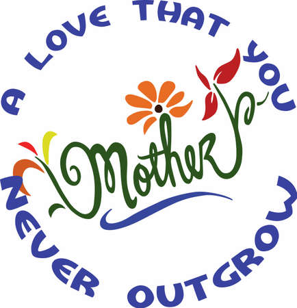 mamma: Show your mother how much you love her with beautiful flowers. Illustration