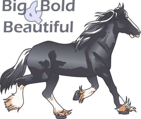 draught horse: This graceful horse with the wind blowing its mane will be beautiful on a shirt, vest or jacket.  This mustang design from Great Notions is a must have item for horse owners.