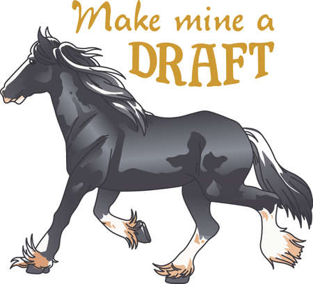 draught: This graceful horse with the wind blowing its mane will be beautiful on a shirt, vest or jacket.  This mustang design from Great Notions is a must have item for horse owners.
