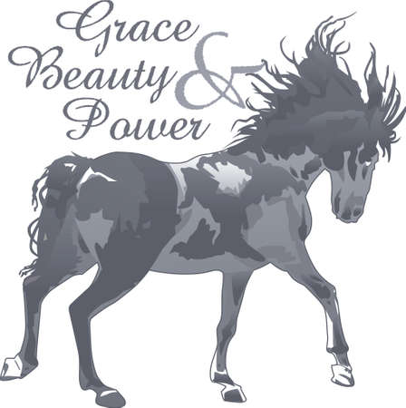 wind blowing: This graceful horse with the wind blowing its mane will be beautiful on a shirt, vest or jacket.  This mustang design from Great Notions is a must have item for horse owners.