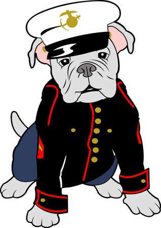 海兵隊は、ブルドッグのマスコットと自尊心を表示できます。  イラスト・ベクター素材