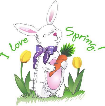 Dit schattige Paashaas is perfect voor dit voorjaar. Een groot ontwerp van Great Notions. Stock Illustratie